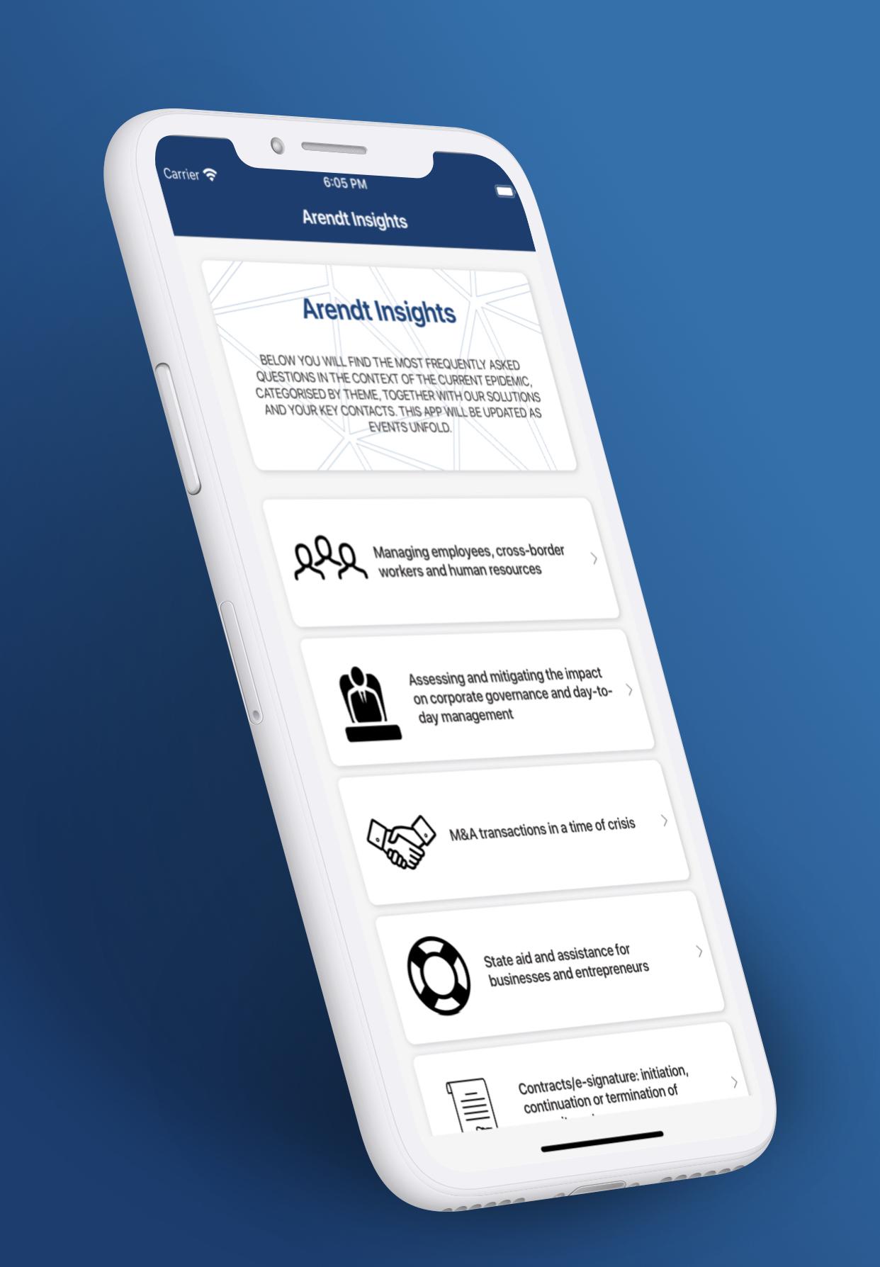 2020 - Arendt Insights mobile app 1
